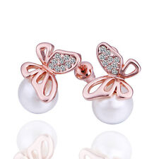 18K Gold Plated White Pearl Stylish Butterflies Stud Earrings Bridal Studs E398