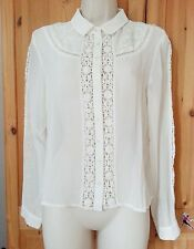 Miss Selfridge Ivory White Collared Chiffon Blouse + Lace Embroidered Top sz.10