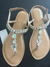 Forever New Size 38 Beige Jewelled T Bar Sandals Rrp $80