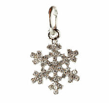 European 925 Silver Snowflake CZ Charm Beads Fit sterling Necklace Bracelet #T91