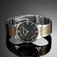 Silver Stainless Steel Case Black Dial Luxury Mens Man Quartz Wrist Watch Gift