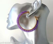 Gorgeous gold tone & purple - lilac sparkly crystal filled hoop earrings **