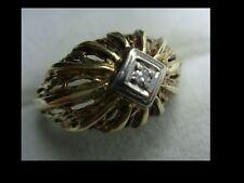 Vintage, Damenring 585er Gold, kleiner Diamant in Weißgold Fassung, Tolle Arbeit