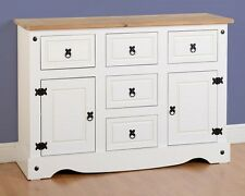 CORONA 2 DOOR 5 DRAWER SIDEBOARD IN WHITE - FREE NEXT DAY DELIVERY