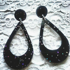 'SILVER SCREEN QUEEN' VINTAGE RAINBOW GLITTER HOOP EARRINGS / RETRO / PIN UP