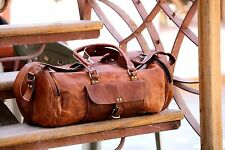 New Men's genuine Leather large Round Duffle Travel gym weekend overnight Bag