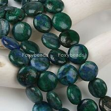 10mm Lapis Lazuli Gemstone Round Coin Button Peacock Green Loose Beads Jewelry