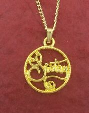 Sister Necklace Gold Plated sis charm pendant and chain family jewellery