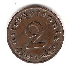 2 Reichspfennig 1936 D in ss/vz. (schöne Tönung) - Jäger Nr. 362