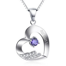 I LOVE YOU Necklace 925 Sterling Silver Amethyst Purple Crystal CZ Heart Pendant