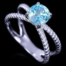 GENUINE! 1.69ct! Seafoam Zircon Round Cut Ring, Solid Sterling Silver 925!