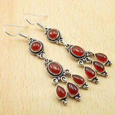 Multi Gemstone RED Earrings, Real CARNELIAN Silver Plated LONG Jewelry 2 1/2""