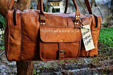 Men's genuine Leather large vintage duffle travel gym weekend overnight bag