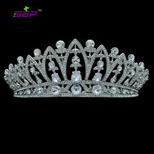 Princess Wedding Flower Tiara Crown Clear Drop Zircon Swarovski Crystals SHA8628