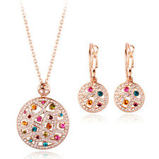 18K ROSE GOLD PLATED AND GENUINE SWAROVSKI CRYSTAL NECKLACE AND EARRING SET