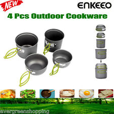 4 Pcs Outdoor Camping Hiking Cookware Backpack Picnic Cooking Bowl Pot Pan Set