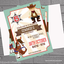Cowboy Sheriff Horse Birthday Party Invitations x 12 with free envelopes H0452