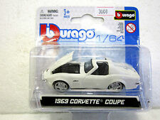 BURAGO Diecast car 1969 CORVETTE COUPE NEW on card 1:64