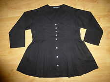 LADIES GUDRUN SJODEN BLACK LONG SLEEVE V NECK BUTTON UP COTTON TOP SIZE S