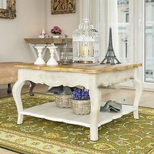 Country Coffee Table French Furniture Shabby Chic Wooden 2 Drawers Shelf Storage