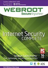 Webroot SecureAnywhere Internet Security COMPLETE 2016, 5 Devices 1Year DOWNLOAD