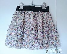 Elastic Banded Chiffon Floral Flower Swing Tiered Skirt Cute Kawaii