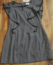 REVIEW - Grey Frill Dress Work - Ladies Size - 14 - NWT - Buy 5 For FREE POST !