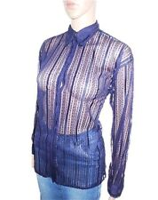VERSACE Womens Vtg 90s Evening Fashion Sexy Lace Nude Blouse Shirt sz 12 14 Y54