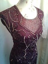 Vtg 1920,s style Downton Gatsby purple sequined beaded flapper dress sze 10