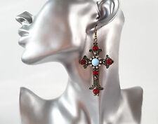 Gorgeous BIG vintage gold tone & red crystal & turquoise bead cross earrings