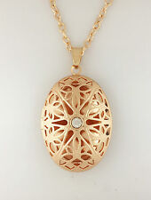 *UK* GOLD PLATED OPEN VICTORIAN FILIGREE OVAL PHOTO LOCKET PENDANT NECKLACE GIFT