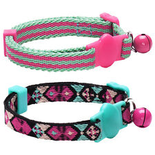 Blueberry Pet 2PC Set Bright Colored Breakaway Safety Cat Collar with Bell