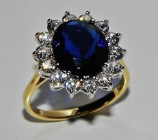 "9ct Yellow Gold & Silver Blue Sapphire ""Lady Diana"" Large Cluster Ring - size P"
