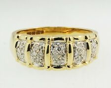 14ct Yellow Gold Diamond(0.25ct) Graduated Cluster Band (Size V 1/2) 4-8mm Width