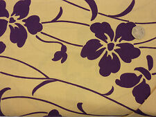 Quilting Fabric Large Purple Flowers Cream Background 100% Cotton Fat Quarter