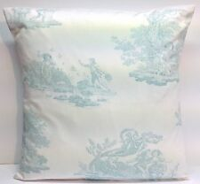 """Laura Ashley Toile Topaz Blue French 16"""" Cushion Cover"""