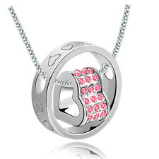 New Pink Rhinestones Silver Plated Love Heart Round Charm Pendant Necklace
