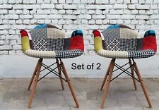 Vintage Patchwork Chair Fabric Armchair Furniture Set Retro Wooden Legs 2 Pieces
