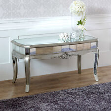 Venetian wood mirrored coffee table ornate vintage chic glass Venetian home