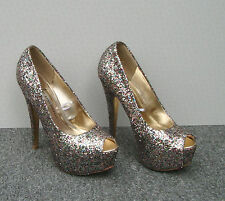 Atmosphere Multi-Coloured Glitter Peep Toes Size 4/37