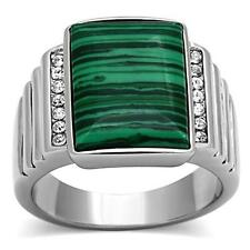 GIFTS FOR MEN Size 10 T Stainless Steel Silver Tone Emerald Malachite Stone Ring