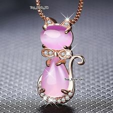 Rose Gold Pink Moonstone Cat Necklace Xmas Gifts for Her Women Girls Daughter B4