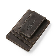 Men Crazy Horse Leather ID Credit Card Purse Slim Wallet Spring Money Clip