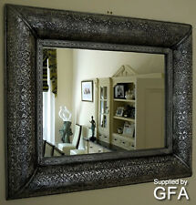 Embossed Black Silver Metal Large Rectangular Wall Mirror,Shabby Vintage Chic