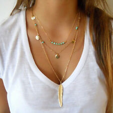 BoHo Women 3 Layers Chain Feather Paillette Bead Pendant Summer Beach Necklace