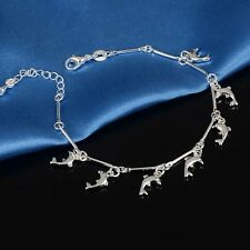 Fashion Jewelry Women 925 Sterling Silver Crystal Cute Dolphin Bracelet Bangle