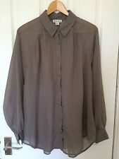 Ladies Reiss Brown Loose Fit Blouse with Fine Gold Pinstripe Size 12