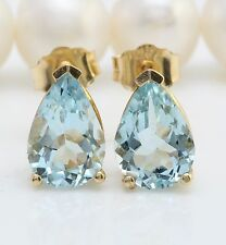 3.00CTW Natural Blue Aquamarine in 14K Solid Yellow Gold Stud Earrings