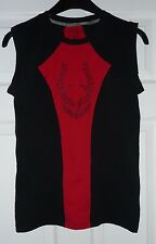 Men's Cyberdog size S Small sleeveless tight fit 95% cotton red black vest top