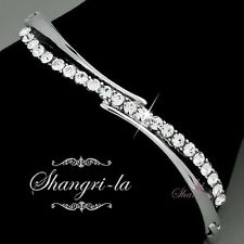 18K WHITE GOLD GP WEDDING Bridal Womens BANGLE SWAROVSKI CRYSTAL F056 SILVER